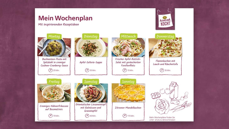 Essenswochenplan Rezepte für die ganze Familie – Alnatura