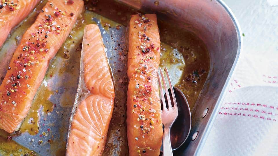gebackener Lachs in Pfeffermarinade